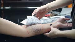 Tattoo Stencil Application Stock Footage