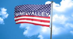 simi valley, 3D rendering, city flag with stars and stripes - stock illustration