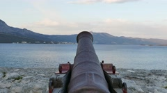 Big old cannon - old town Korcula Stock Footage