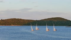 Sailboats and an island in the background Stock Footage