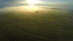AERIAL, flight above wheat field through the morning foggy sunrise in rural - stock footage