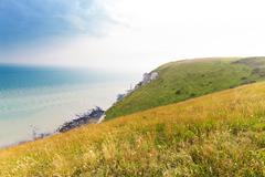 Popular Beachy Head Atlantic ocean coast, Wes Sussex, England, United Kingdom - stock photo