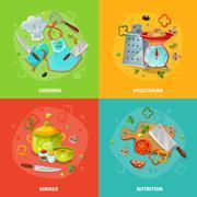 Cooking 2x2 Design Concept - stock illustration