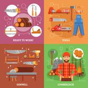 Lumberjack And Tools For Working Wood Stock Illustration