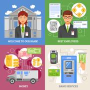 Bank Services 2x2 Design Concept - stock illustration