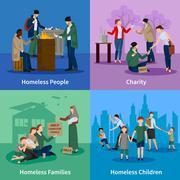 Homeless Icons Set Stock Illustration