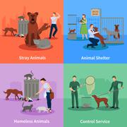 Stray Animals Icons Set - stock illustration