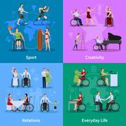Disabled People 4 Flat Icons Square - stock illustration