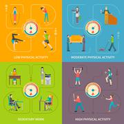 Physical Activity Flat Concept Stock Illustration