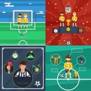 Soccer Flat Icons Composition - stock illustration