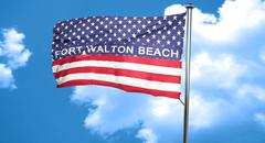 Fort walton beach, 3D rendering, city flag with stars and stripe Stock Illustration