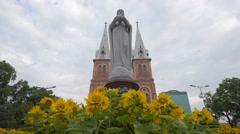 Low angle front view of Notre dame de Saigon Stock Footage