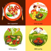Barbecue Party 4 Flat Icons Square Stock Illustration