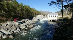 Old mountain hydropower station panoramic shot Chemal - stock footage