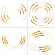 Set of 16 detailed Wheat ears. EPS 10 - stock illustration