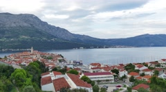 The town of Korcula panorama Stock Footage
