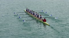 Crew team members prepare and race in the Row Regatta Stock Footage