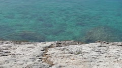 Rocky beaches and clear blue sea in Makarska Stock Footage