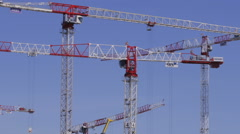 The industrial landscape.High-rise construction cranes in action. Time Lapse. Stock Footage