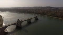 Avignon bridge drone  - stock footage