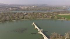 Avignon bridge drone. - stock footage
