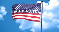 garden city, 3D rendering, city flag with stars and stripes - stock illustration