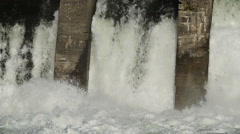 Slow motion Water flowing from old hydroelectric power station - stock footage