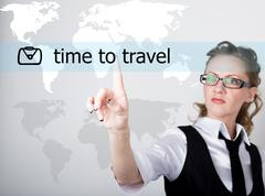 Time to travel written on a virtual screen. Internet technologies in business Stock Photos