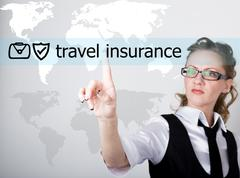 Travel insurance written on a virtual screen. Internet technologies in business Stock Photos