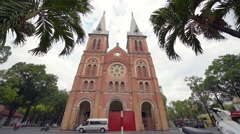 Notre Dame Cathedral (Vietnamese: Nha Tho Duc Ba) - stock footage