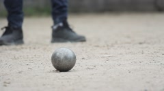 People Playing Petanque In Park Stock Footage