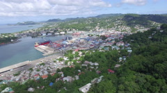 View of port townscape Stock Footage