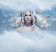 Fantasy expressive portrait of a blonde beauty Stock Photos