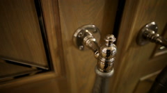 The theatre's interior. The element of door. The elegant door handle. Stock Footage