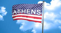 athens, 3D rendering, city flag with stars and stripes - stock illustration