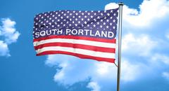 south portland, 3D rendering, city flag with stars and stripes - stock illustration