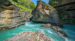 Mountain river in a canyon of Aksu, Kazakhstan - 4K Timelapse Stock Footage
