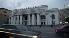 Russia. Voronezh. Timelapse footage of Voronezh state academic drama theatre Stock Footage