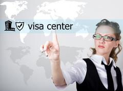 visa center written on a virtual screen. Internet technologies in business and - stock photo