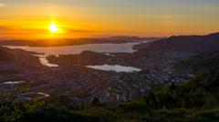 Bjoergvin | Spring Sunset Nattland Day to Night Stock Footage