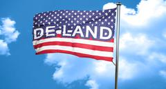 de land, 3D rendering, city flag with stars and stripes - stock illustration