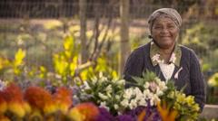Flower lady portrait Stock Footage