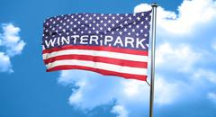 winter park, 3D rendering, city flag with stars and stripes - stock illustration
