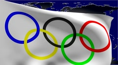 Olympic flag and world map Stock Footage