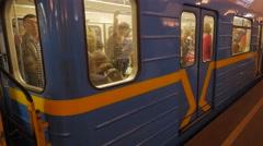 Science Day Kiev Ukraine Train Leaves Khreshchatyk Metro Station Passengers Stock Footage