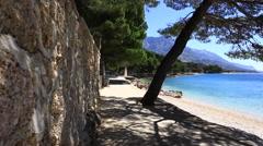 Promenade & Blue Sea. Sunny day. Stock Footage