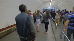 Science Day Kiev Ukraine Crowd of Passengers Walks Down at Khreshchatyk Stock Footage