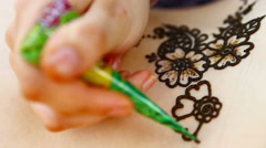 Drawing a henna nature Stock Footage