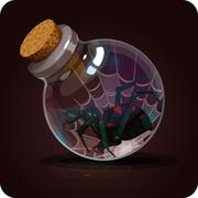 Bottle with spider.Black Widow. Game icon of magic elixir. Stock Illustration