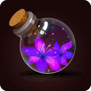 bottle with violet beautiful flowers.Game icon of magic elixir. - stock illustration